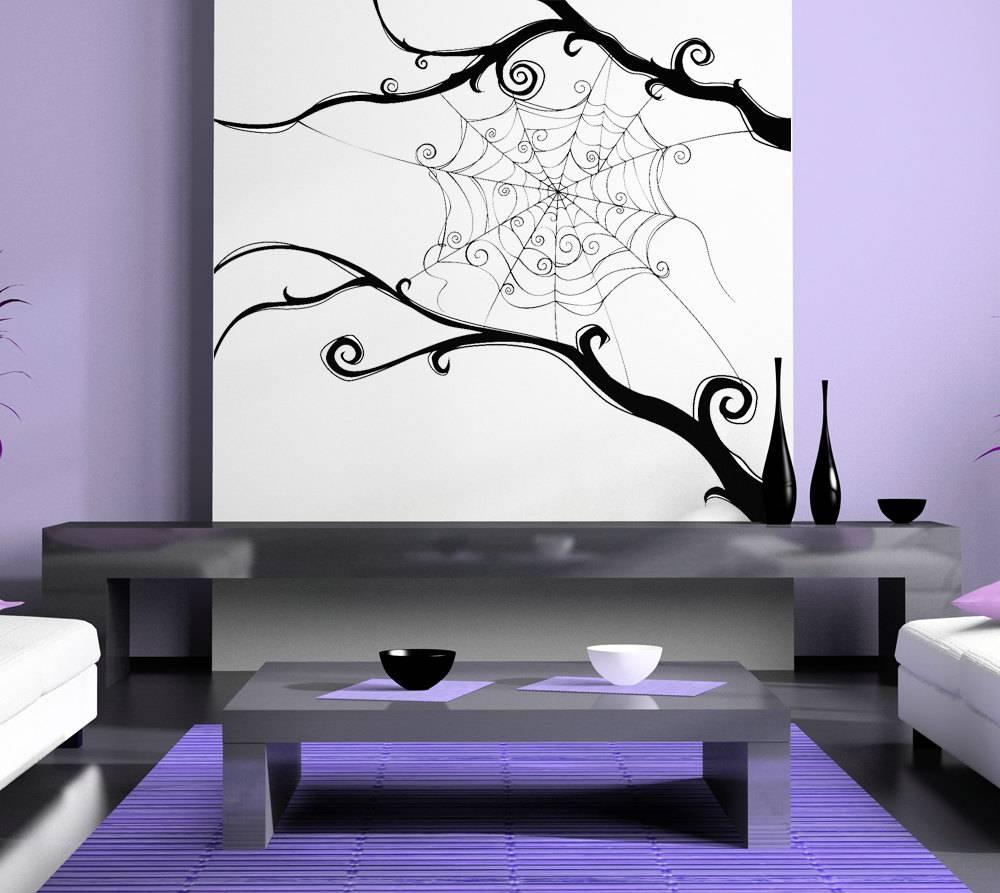 Spider Web Spiderweb Tim Burton Swirl Wall Artwork With Latest Tim Burton Wall Decals (View 13 of 20)