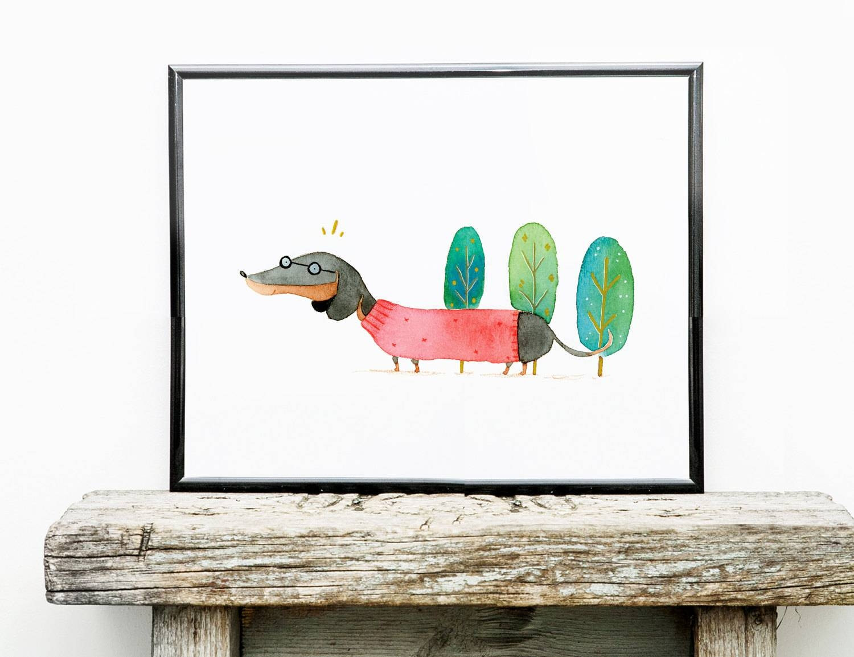 Spiffy Dachshund Art Print Dog Wall Art 8x10 Illustration With Regard To 2018 Dachshund Wall Art (View 15 of 22)