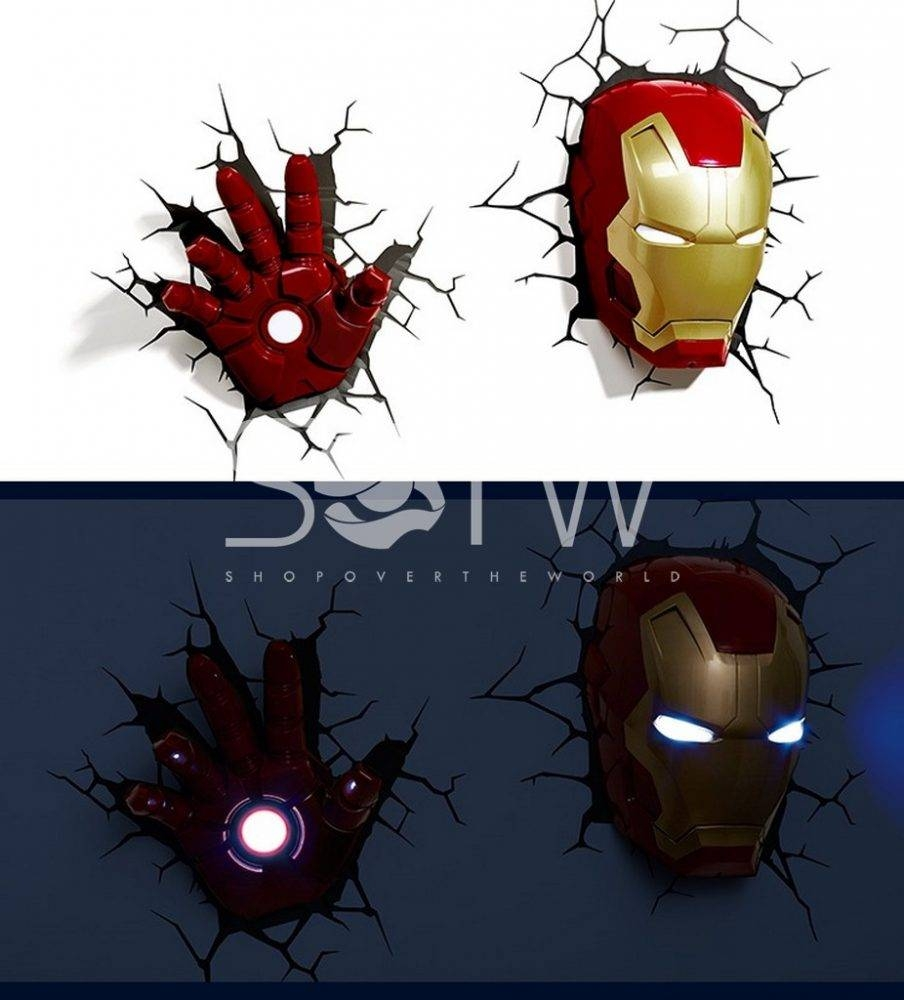 Splendid 3D Wall Art Thor Hammer Night Light Uk Teenage Mutant with regard to Recent 3D Wall Art Iron Man Night Light