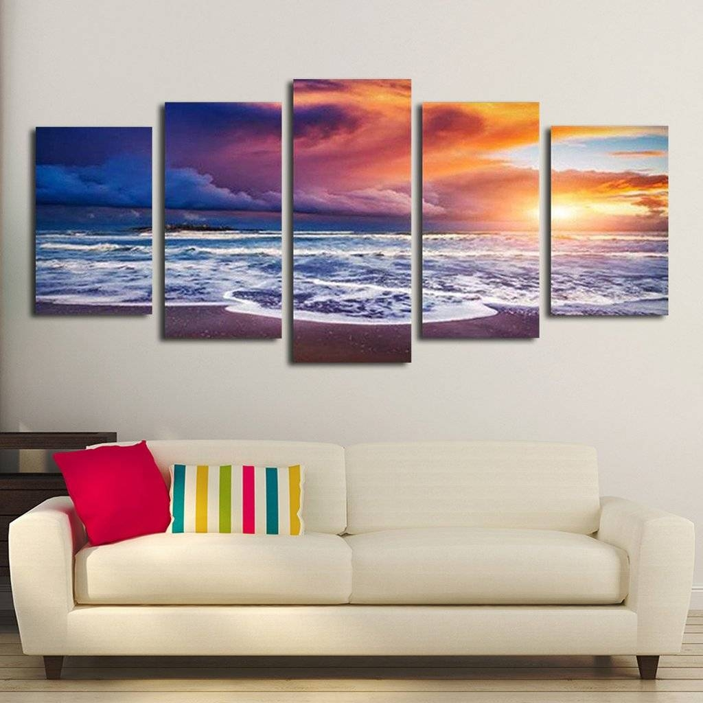 Splendid Canvas Wall Art Paintings Heaven At Sunset Multi Intended For Most Popular Oversized Canvas Wall Art (View 17 of 20)