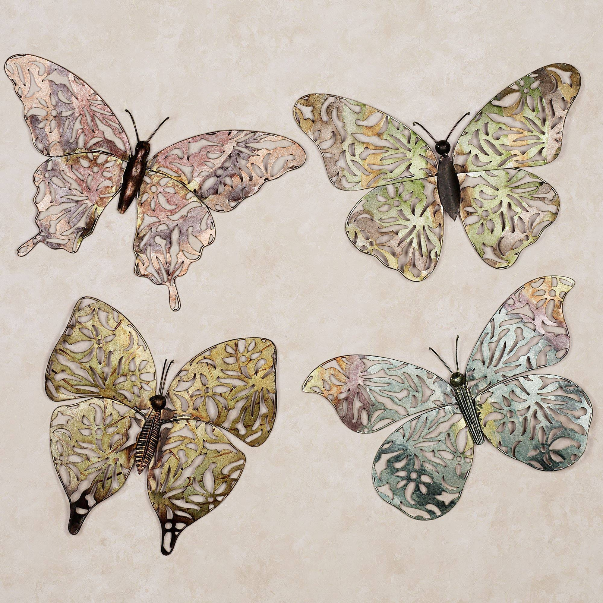 Spring Butterfly Metal Wall Art Set With Regard To Current Large Metal Butterfly Wall Art (View 22 of 25)