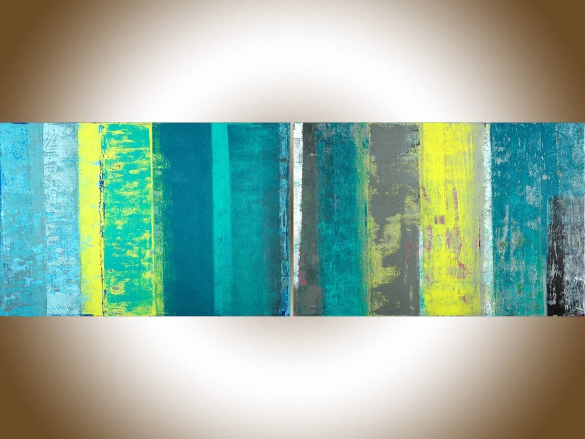 """Spring Ribbonqiqigallery 72"""" X 24"""" Extra Large Wall Art Within Most Recently Released Yellow And Blue Wall Art (View 15 of 20)"""