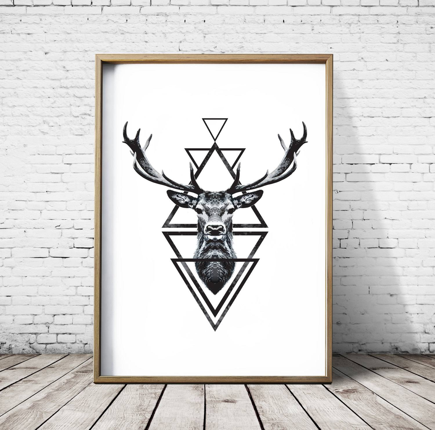 Stag Head Deer Head Wall Art Print Deer Print Deer Antlers Inside Most Popular Stag Head Wall Art (View 14 of 20)