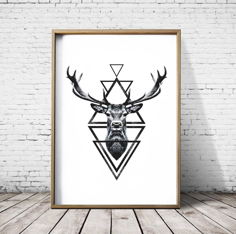 Stag Head Deer Head Wall Art Print Deer Print Deer Antlers Inside Most Popular Stag Head Wall Art (View 6 of 20)