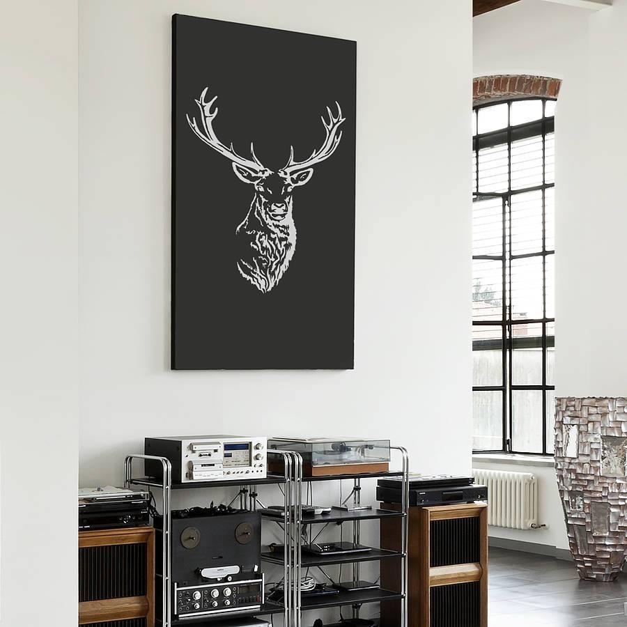 Stag Head Vinyl Wall Stickeroakdene Designs Inside Newest Stag Wall Art (View 12 of 20)