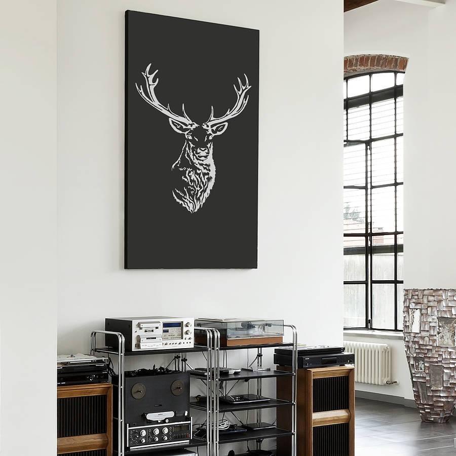 Stag Head Vinyl Wall Stickeroakdene Designs Inside Newest Stag Wall Art (View 9 of 20)