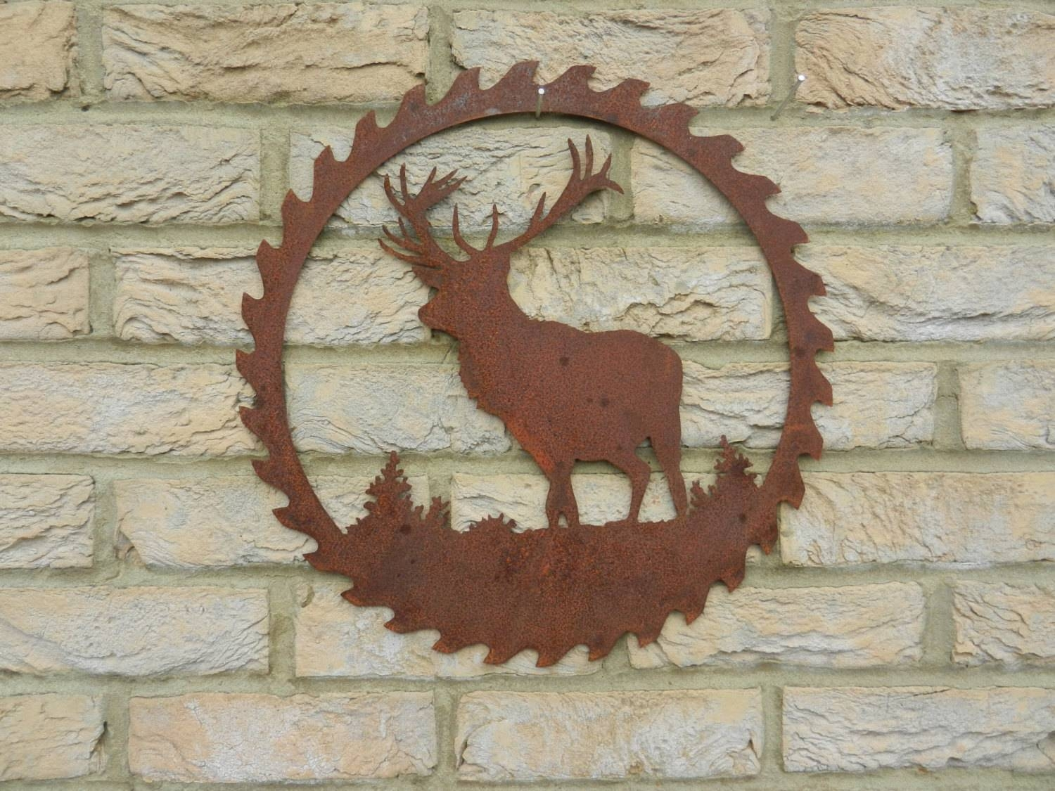 Stag Wall Art / Rusty Metal Garden Decoration / Stag Gift / With Most Current Stag Wall Art (View 14 of 20)