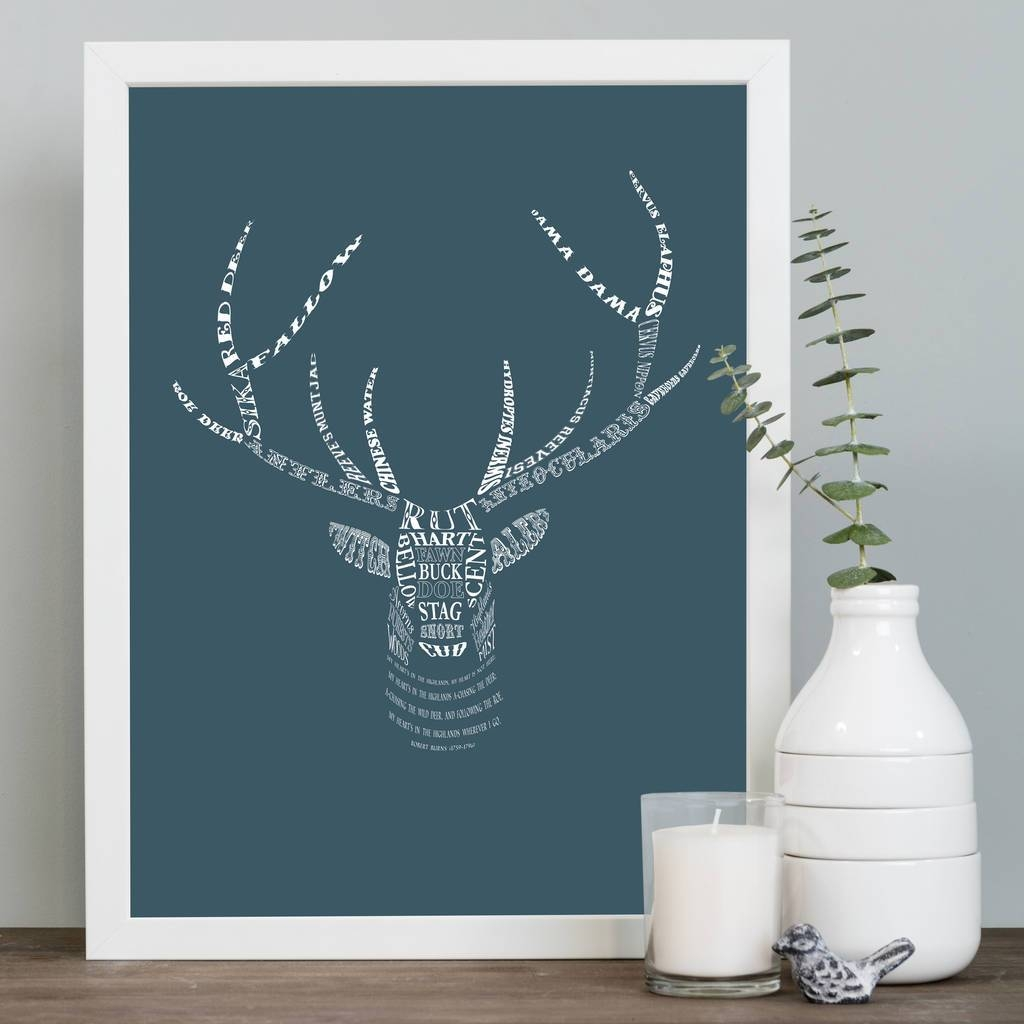 Stag's Head Art Printmimi & Mae | Notonthehighstreet Inside Latest Stags Head Wall Art (View 15 of 25)
