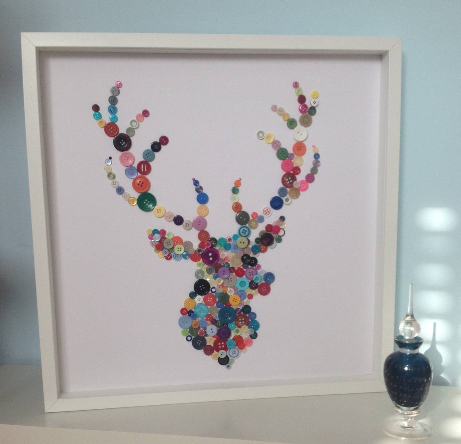 Stags Head Christmas Gift Idea Button Art Button Stag With Recent Stag Wall Art (View 15 of 20)