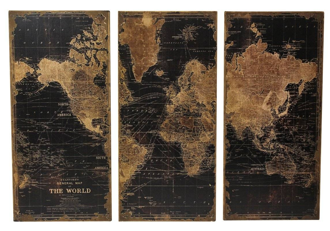 Stanford World Map 3 Piece Graphic Art Set & Reviews | Birch Lane Intended For Most Current 3 Piece Wall Art Sets (Gallery 25 of 25)