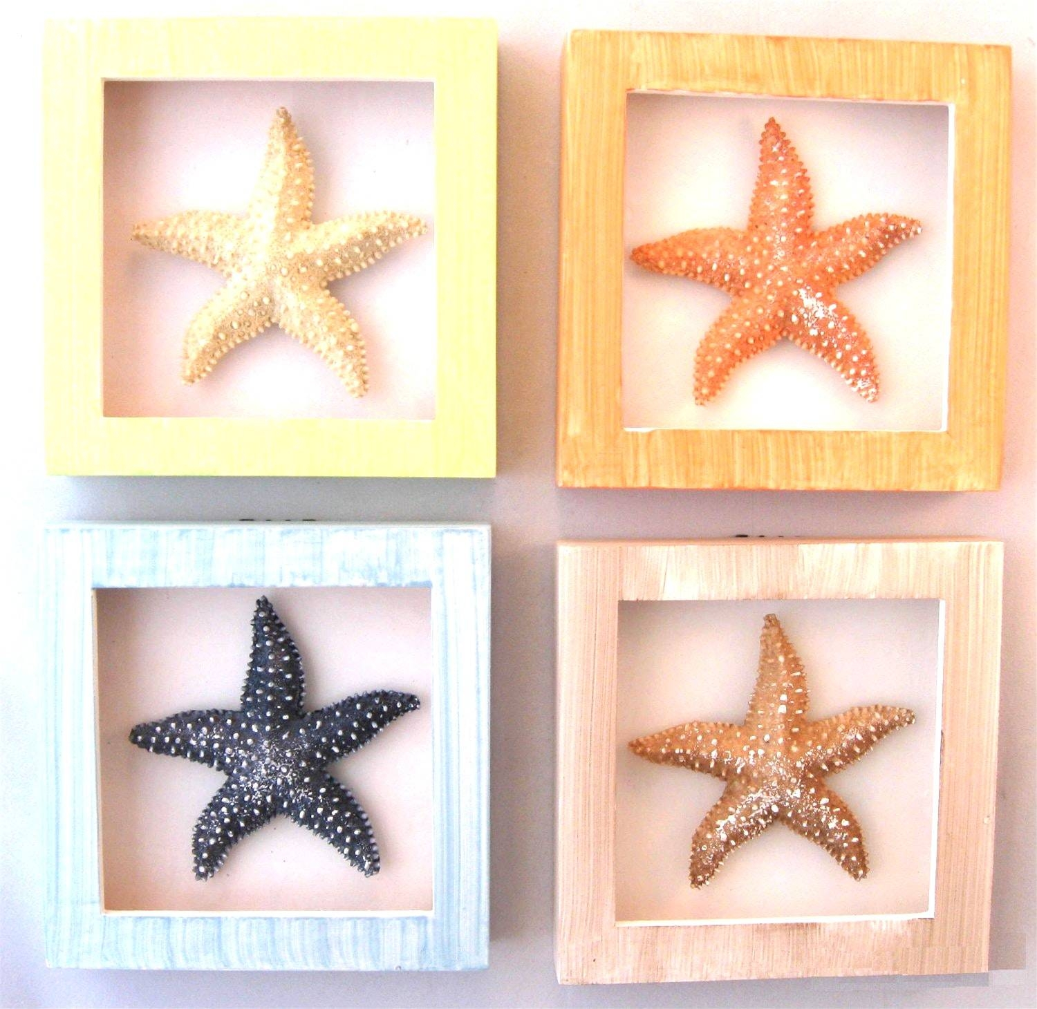 Starfish Wall Decor Beach Seashells Large Bright Bathroom | Birdcages  Inside Latest Large Starfish Wall Decors