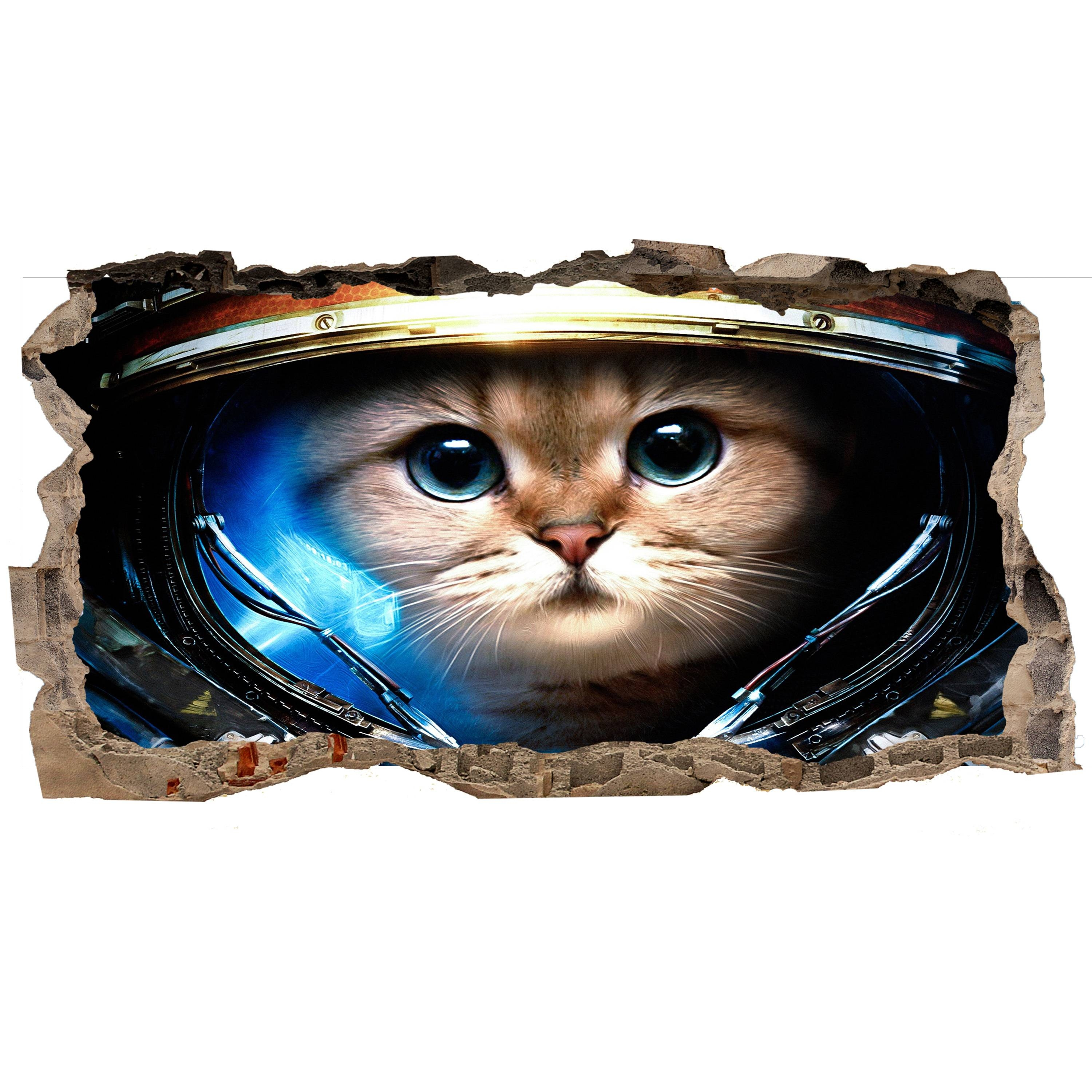 Startonight 3D Mural Wall Art Photo Decor Astronaut Cat Amazing Intended For Best And Newest Astronaut 3D Wall Art (View 18 of 20)