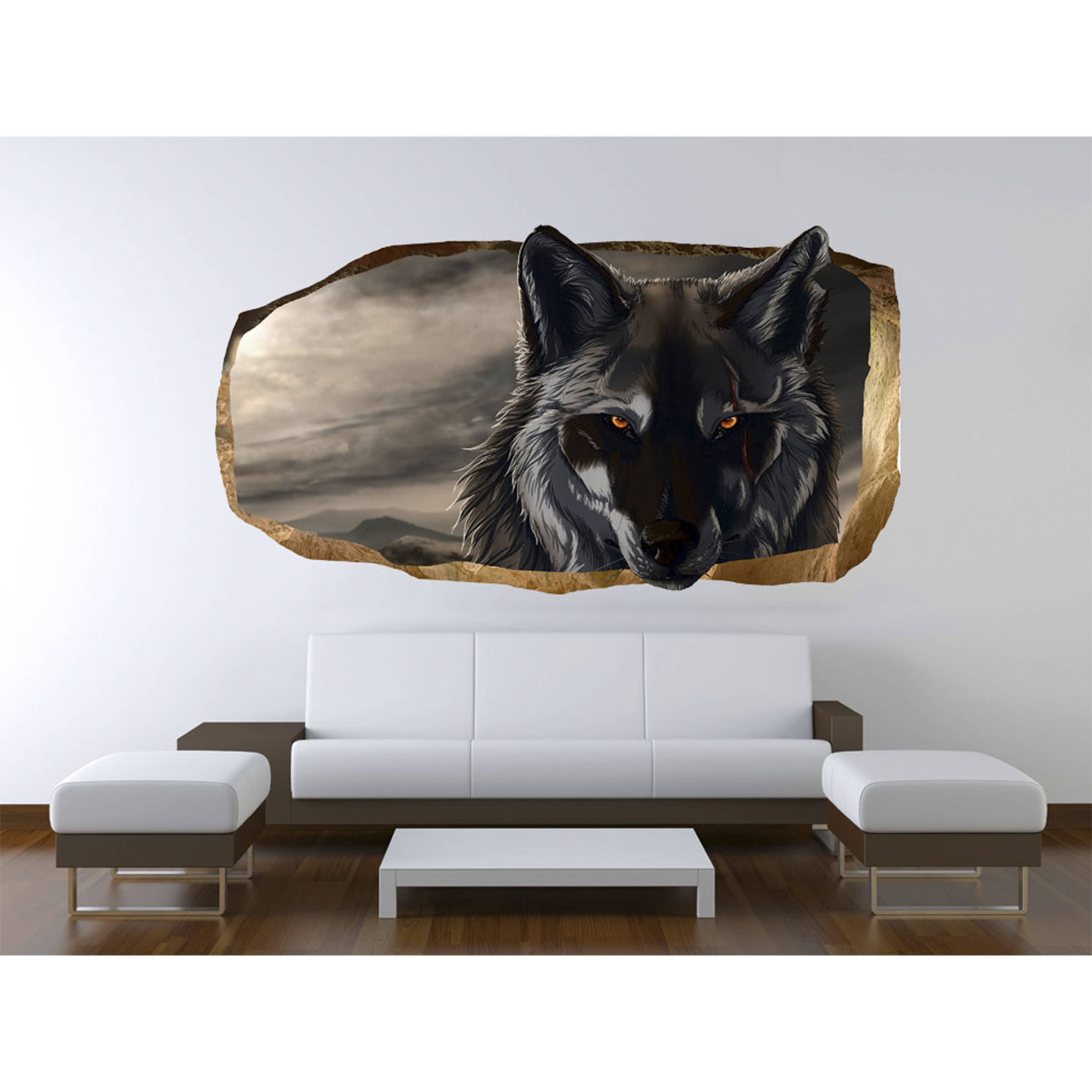 Startonight 3D Mural Wall Art Photo Decor Wolf Amazing Dual View With Regard To 2018 Wolf 3D Wall Art (View 15 of 20)