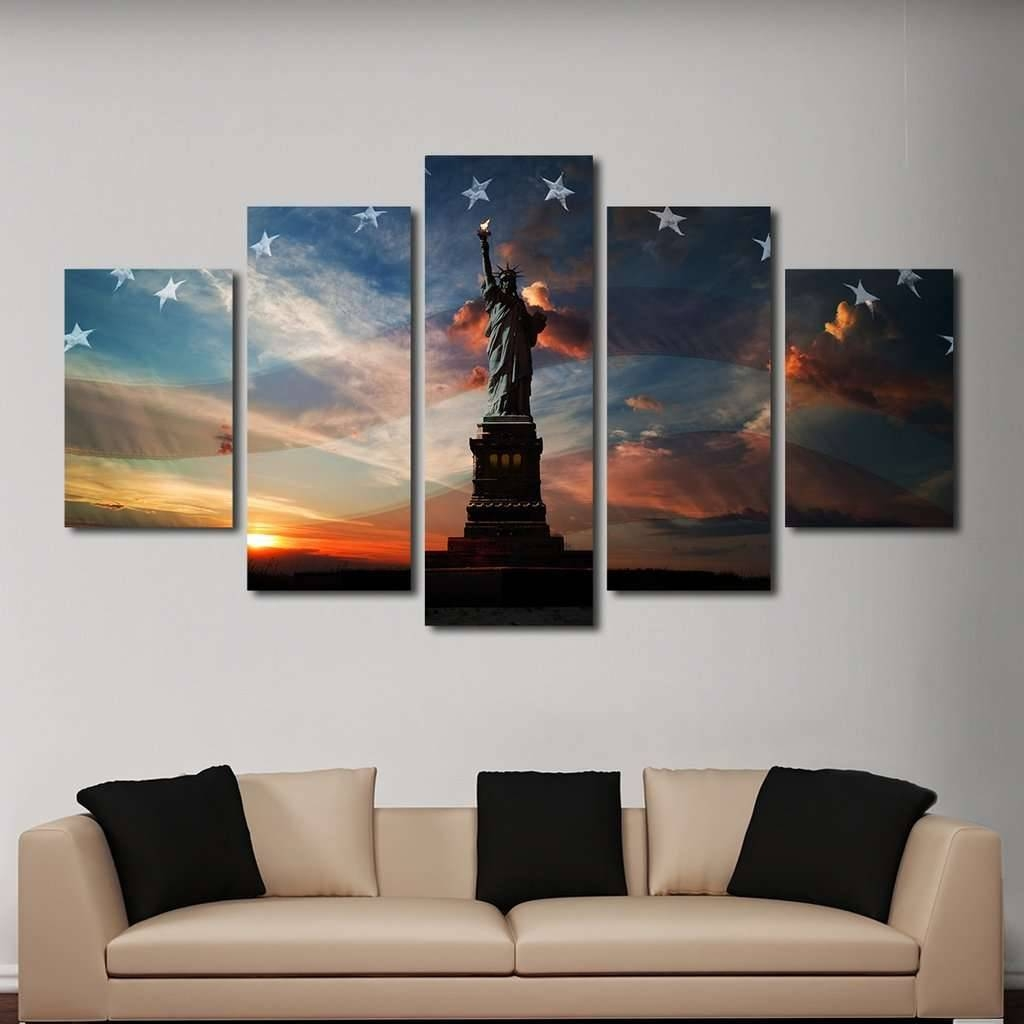 Statue Of Liberty Multi Panel Wall Art Canvas – Mighty Paintings Regarding 2018 Multi Panel Canvas Wall Art (View 7 of 20)