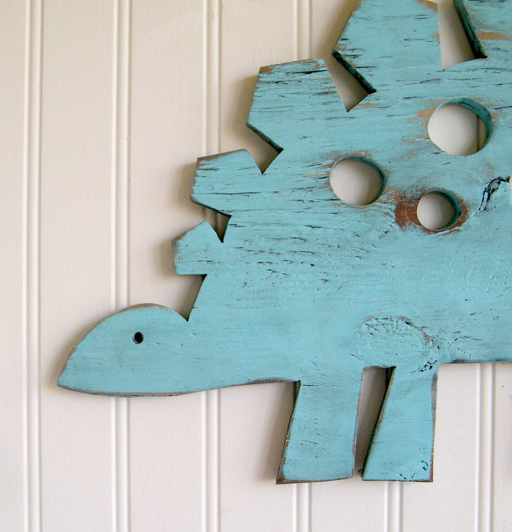 Stegosaurus Small Dinosaur Decor Dino Wall Art Sign Kids For Newest Dinosaur Wall Art For Kids (View 19 of 20)