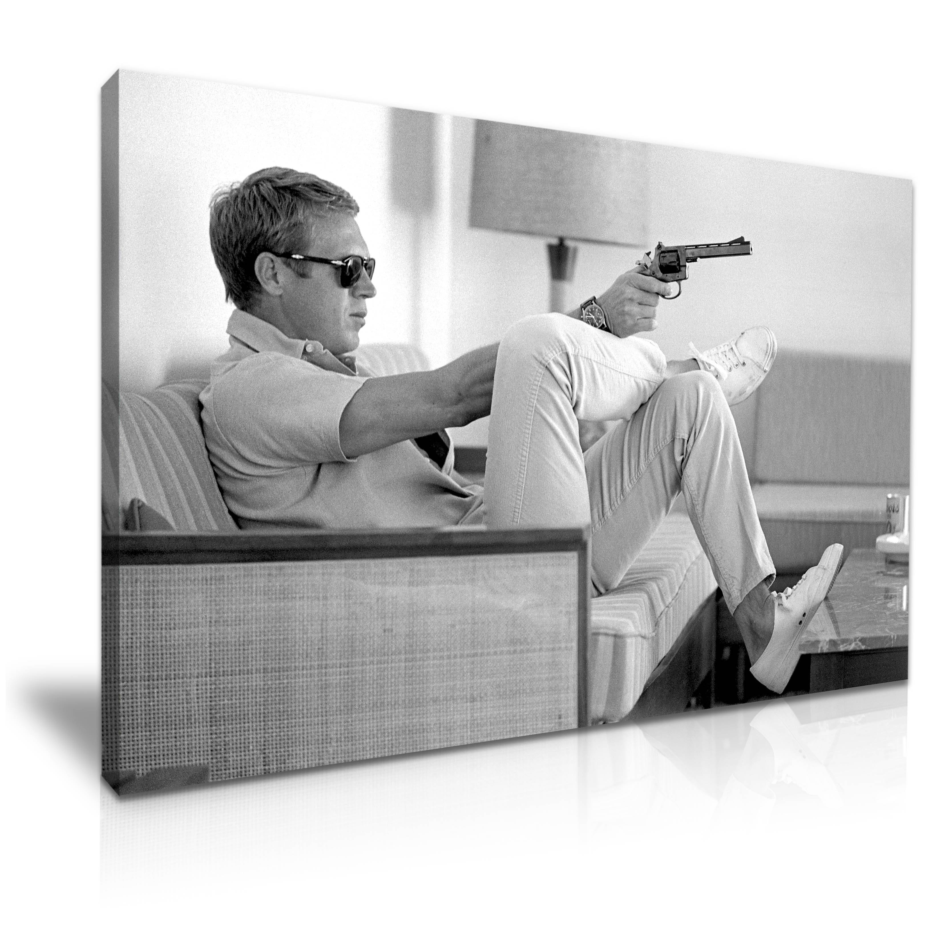 Steve Mcqueen With Gun Icon Black And White Modern Canvas Wall Art Within Best And Newest Steve Mcqueen Wall Art (View 16 of 20)