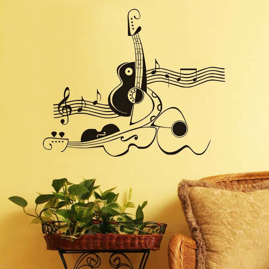 Stickers Creative Abstract Guitar And Violin Vinyl Wall Sticker Inside Most Recent Music Note Art For Walls (View 22 of 25)