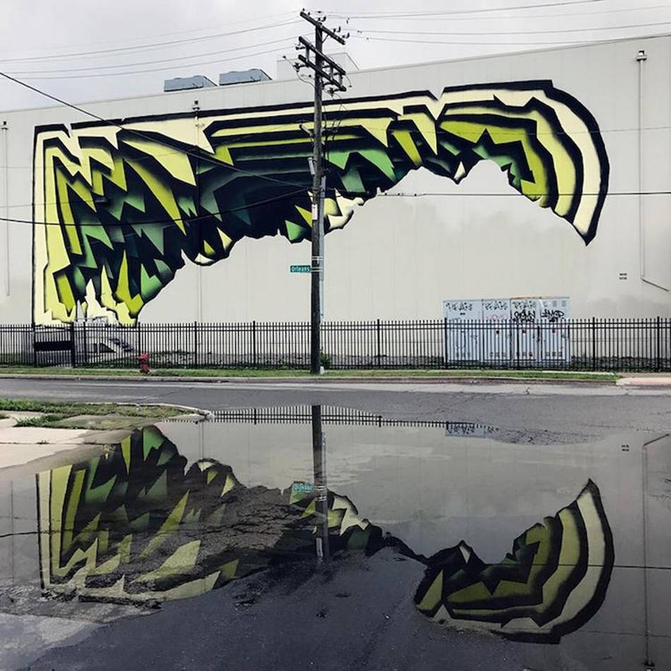 Street Artist Spray Paints Colorful Optical Illusion Murals On Intended For Latest Optical Illusion Wall Art (View 15 of 20)