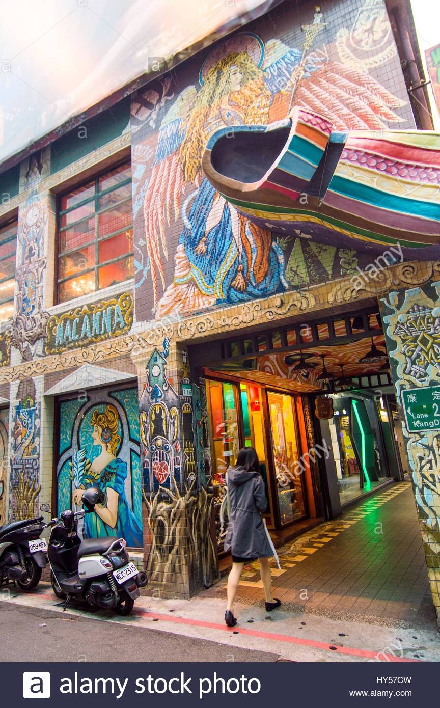 Street Scene With Shoe Shop, Kunming Street, Ximending, Taipei In Best And Newest Street Scene Wall Art (View 21 of 25)