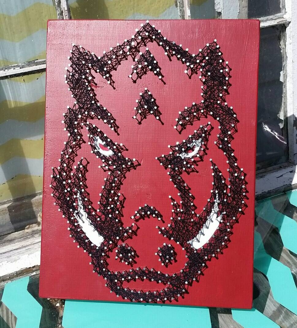 String Art Razorback Nail Art Hog University Of Arkansas For Best And Newest Razorback Wall Art (View 23 of 25)