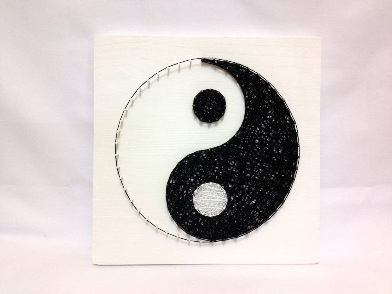 String Art Yin Yang Sign Wall Art Yin Yang Home Decor Black Throughout Most Recently Released Yin Yang Wall Art (View 17 of 30)