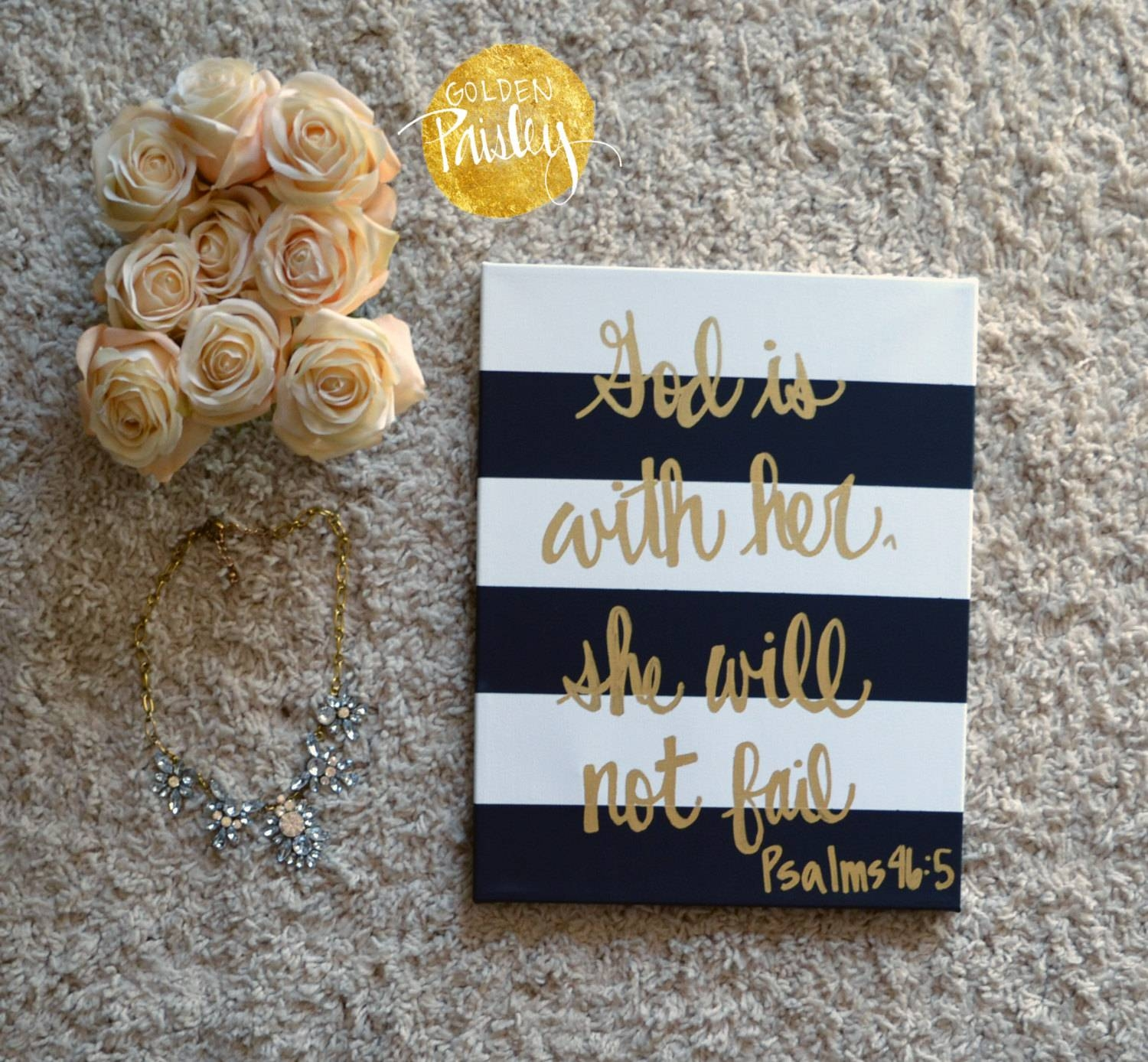 Striped Bible Verse Canvas Quote Art Wall Hanging Sign Black & In Most Recently Released Scripture Canvas Wall Art (View 4 of 20)