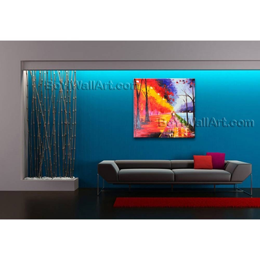 Stunning Contemporary Wall Art Landscape Painting Park Artist Artworks With Most Popular Electronic Wall Art (View 18 of 25)