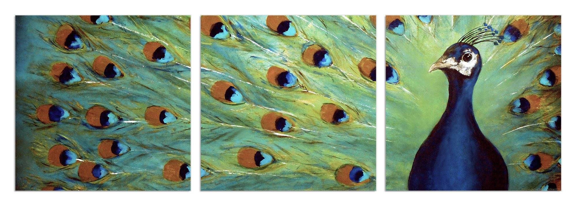 Stupell Industries Prized Peacock 3 Piece Triptych Canvas Wall Art In Most Current Canvas Wall Art 3 Piece Sets (View 12 of 20)