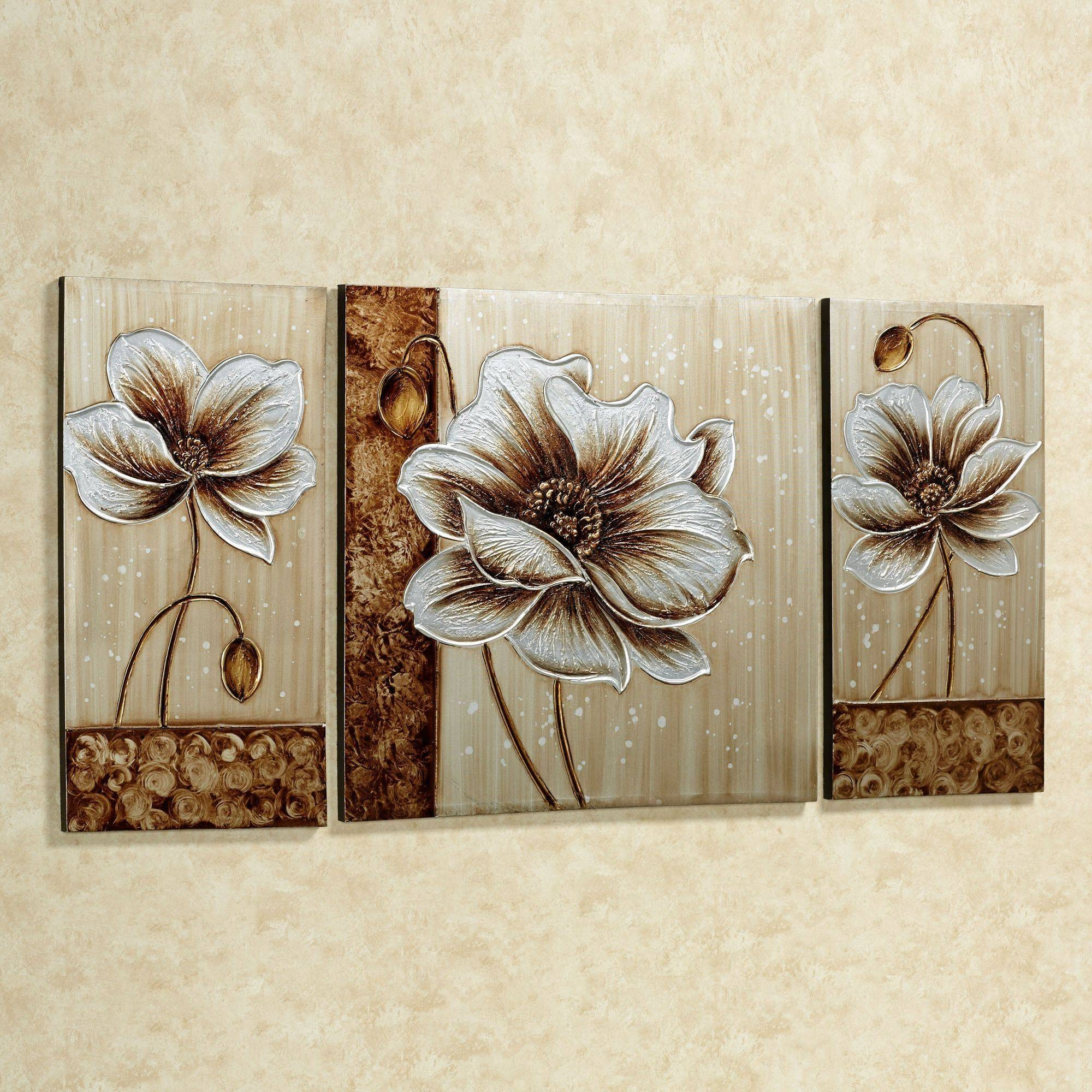 Subtle Elegance Floral Canvas Wall Art Set In Most Up To Date 3 Piece Canvas Wall Art Sets (View 11 of 20)