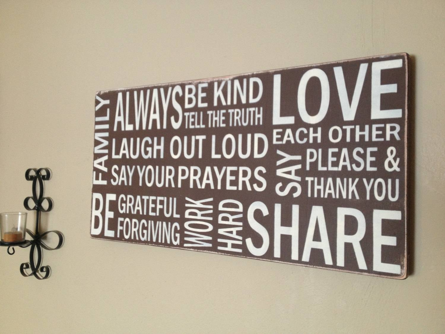 Subway Wood Canvas Sign Hand Painted Family Rules With Most Recent Horizontal Canvas Wall Art (View 17 of 20)