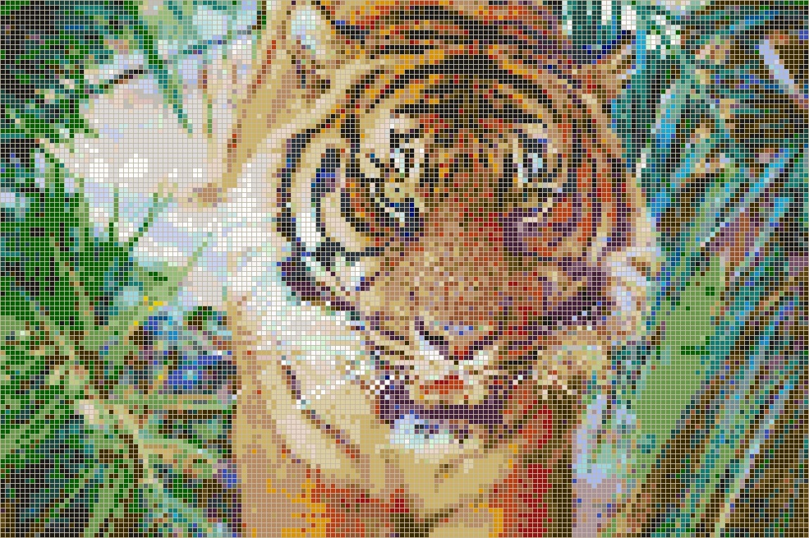Sumatran Tiger – Framed Mosaic Wall Art With Regard To Most Recent Pixel Mosaic Wall Art (View 13 of 20)