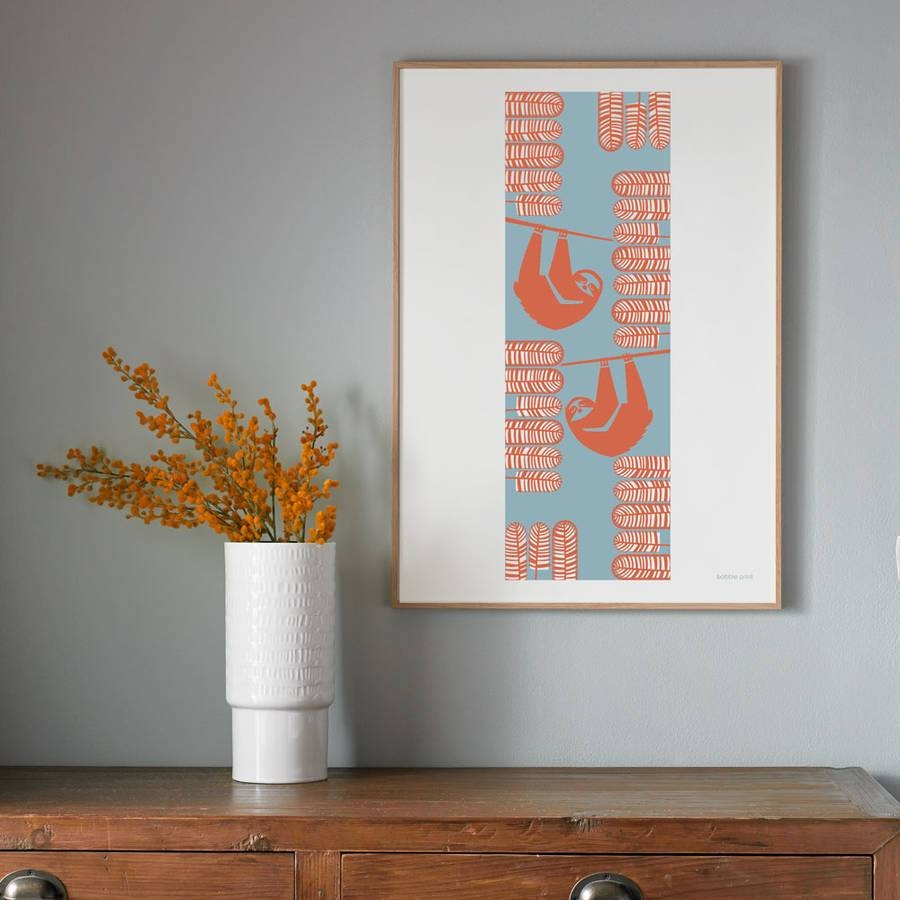 Summer Sloths Seasonal Screen Printed Wall Artbobbie Print Inside Latest Seasonal Wall Art (View 4 of 20)
