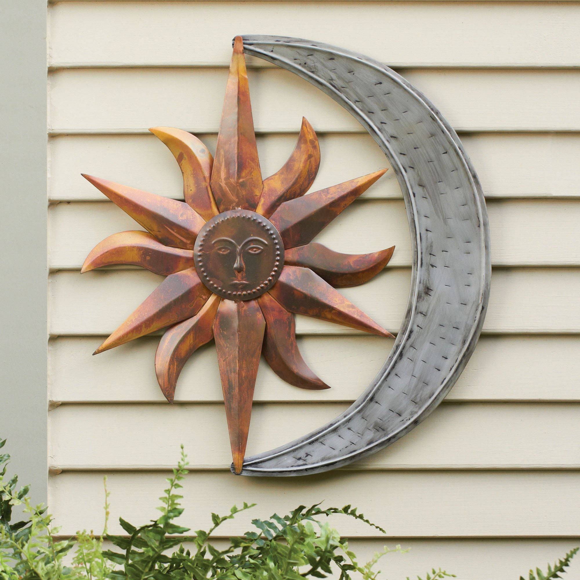 Sun And Moon Indoor Outdoor Metal Wall Art Inside Current Outside Wall Art (View 3 of 31)