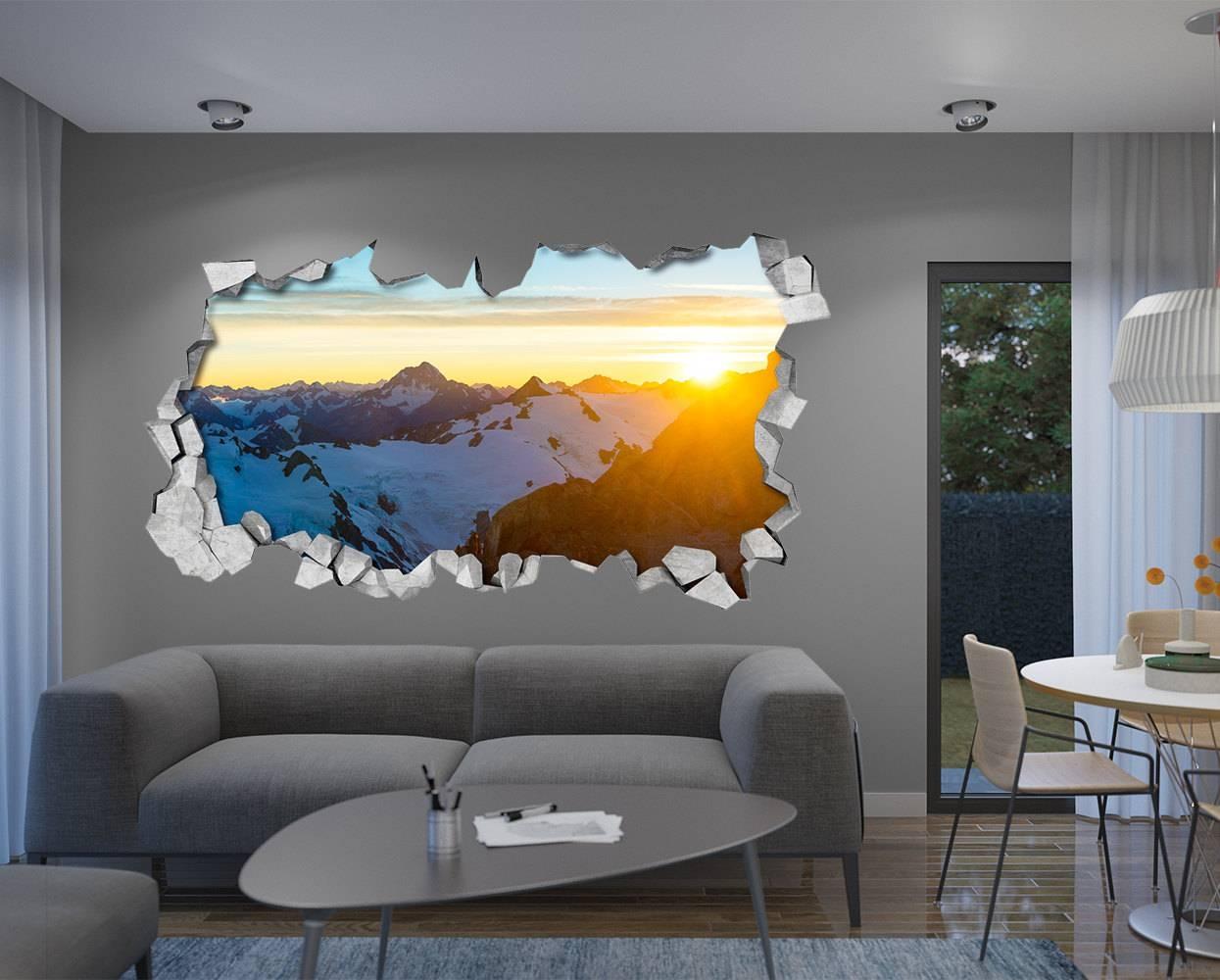 Sunny Mountain 3d Wall 3d Wallpaper 3d Wall Art 3d Regarding Most Recent 3d Wall Art For Living Room (View 6 of 20)
