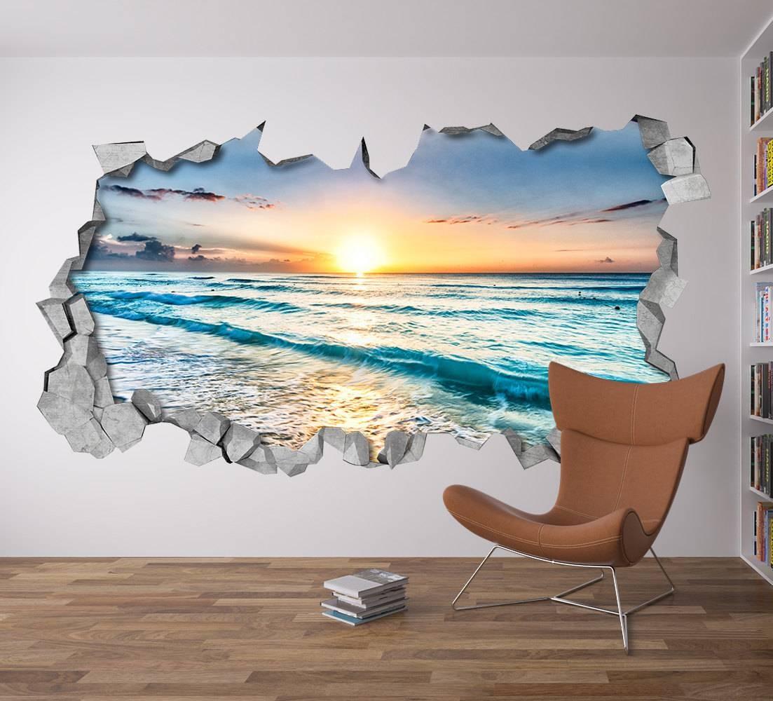 Sunset Broken Wall Decal 3D Wallpaper 3D Wall Decals 3D Throughout Most Recently Released Venezuela Wall Art 3D (View 19 of 20)
