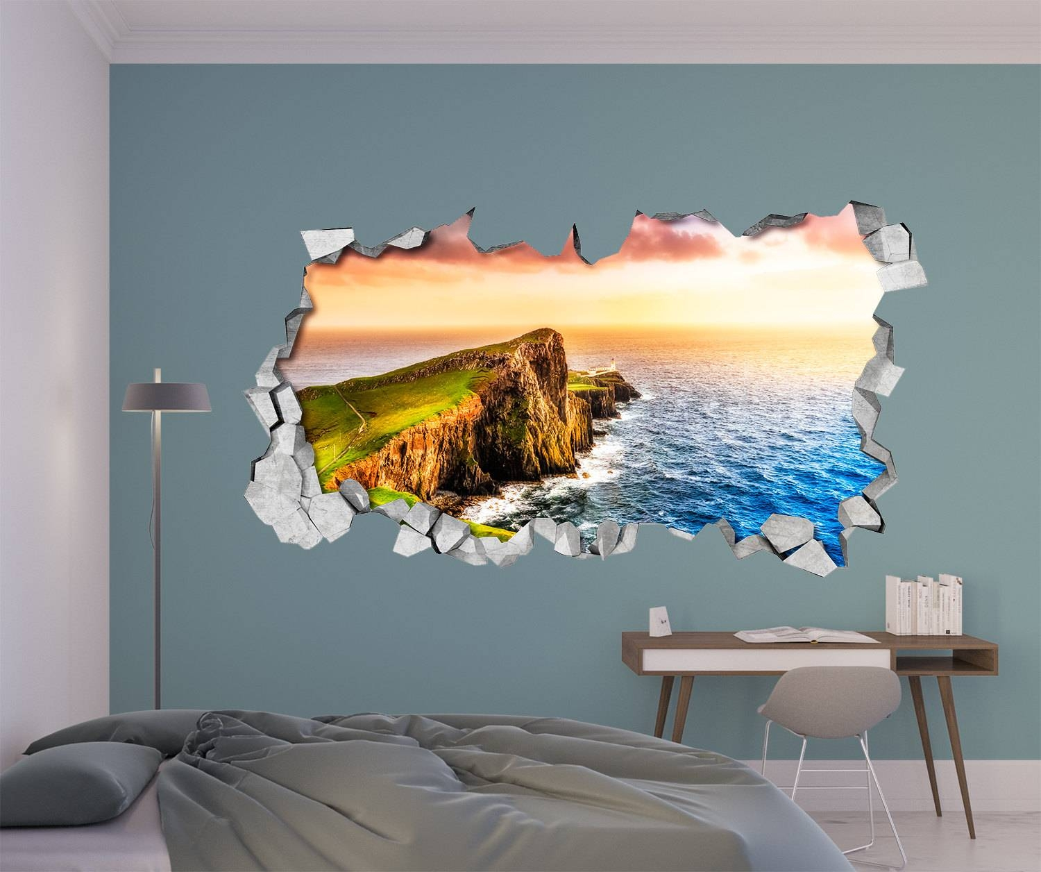 Sunset Cliff 3D Wall Art Broken Wall 3D Wall Stickers With Regard To Best And Newest 3D Wall Art (View 22 of 30)
