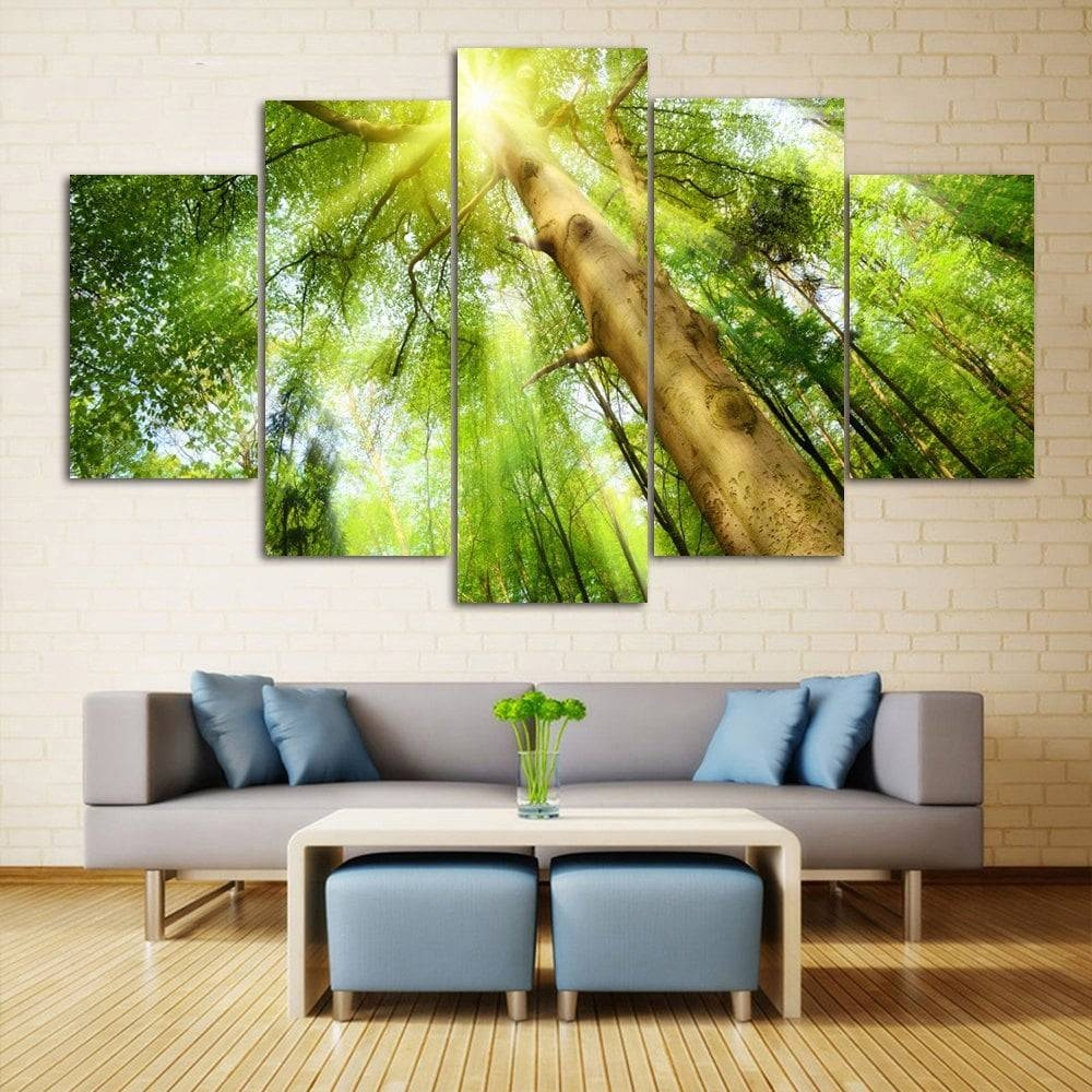 Sunshine Tree Print Wall Art Canvas Paintings, Green, Cm Pcs/ Cm For Recent Green Canvas Wall Art (View 5 of 20)