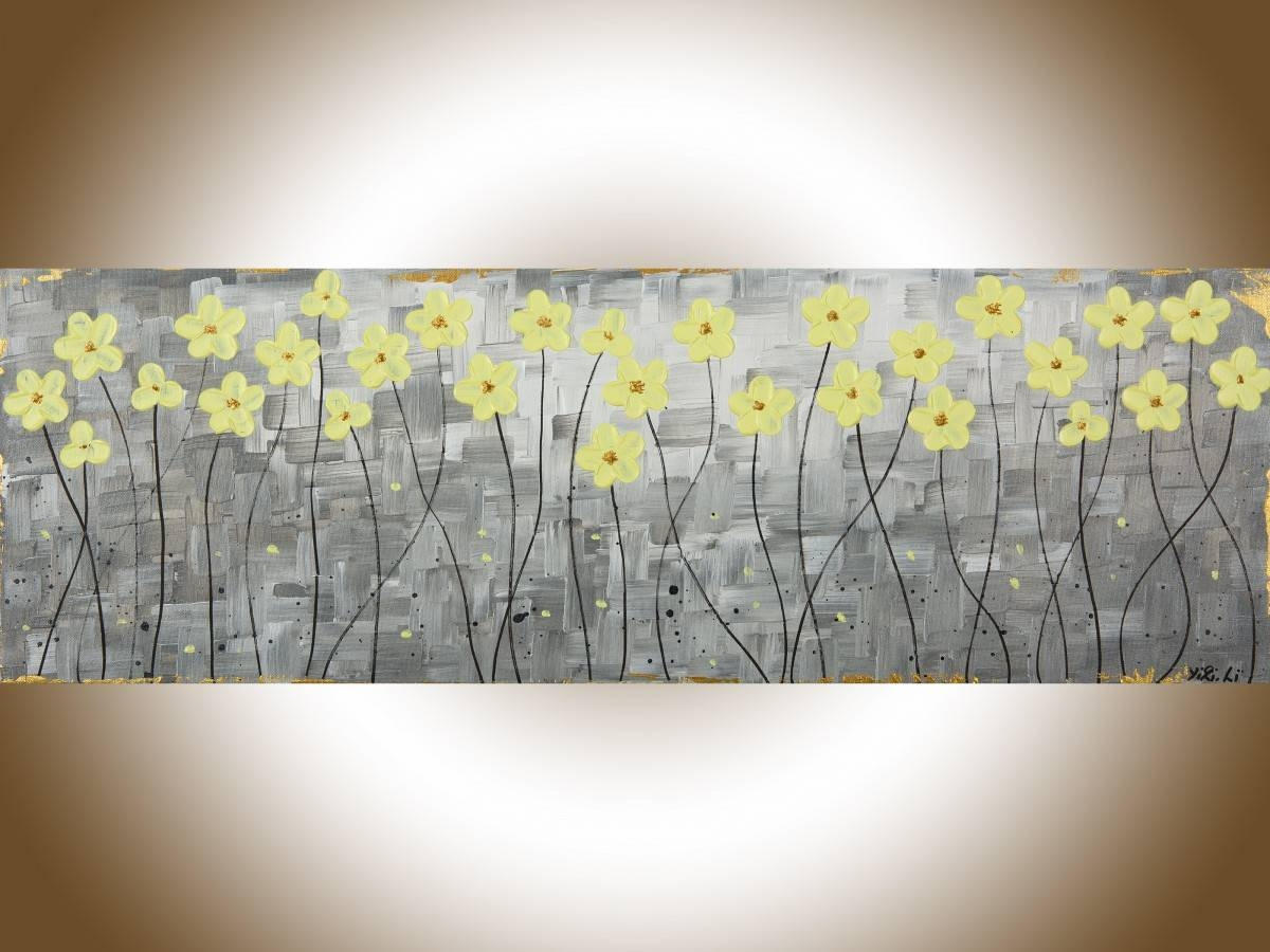 "Sunshineqiqigallery 36"" X 12"" Original Abstract Painting Gray Pertaining To Recent Yellow And Gray Wall Art (View 10 of 15)"