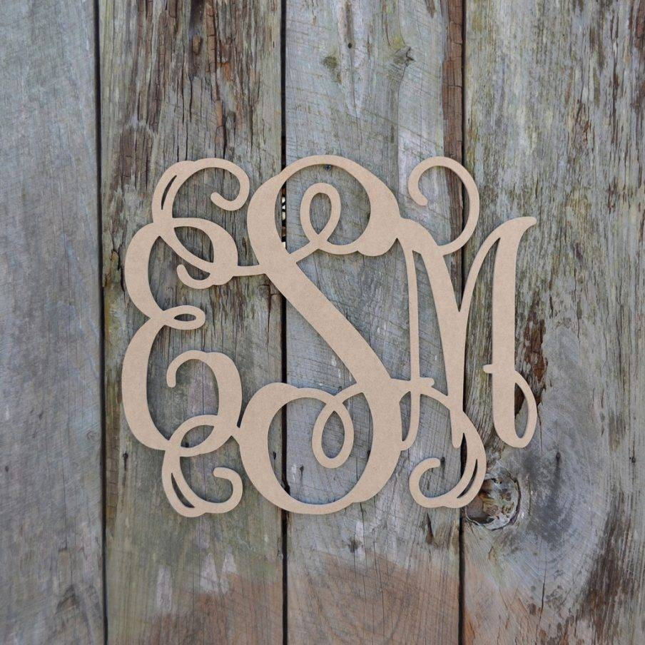 Superb Monogram Wall Art Groupon Unfinished Wooden Letter Vine Inside Most Popular Groupon Wall Art (View 15 of 20)