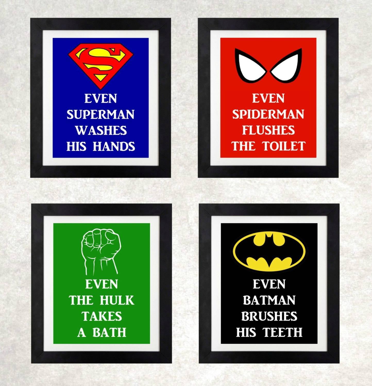 Superhero Bathroom // Boys Bathroom Wall Art // Superhero Inside 2017 Superhero Wall Art For Kids (View 6 of 25)