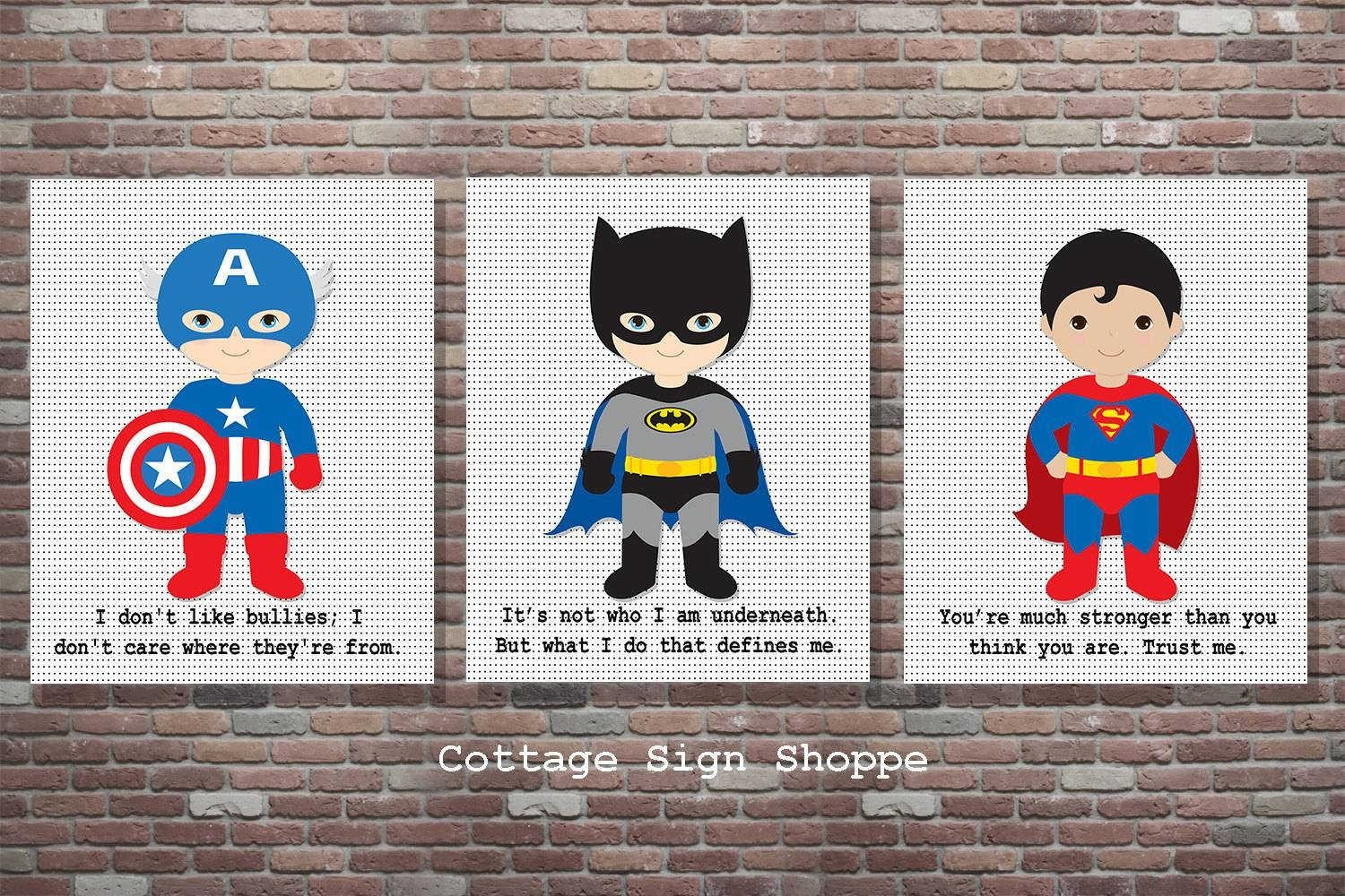 Superhero Decor Superhero Sign Superhero Wall Artset With Regard To Recent Superhero Wall Art For Kids (View 16 of 25)
