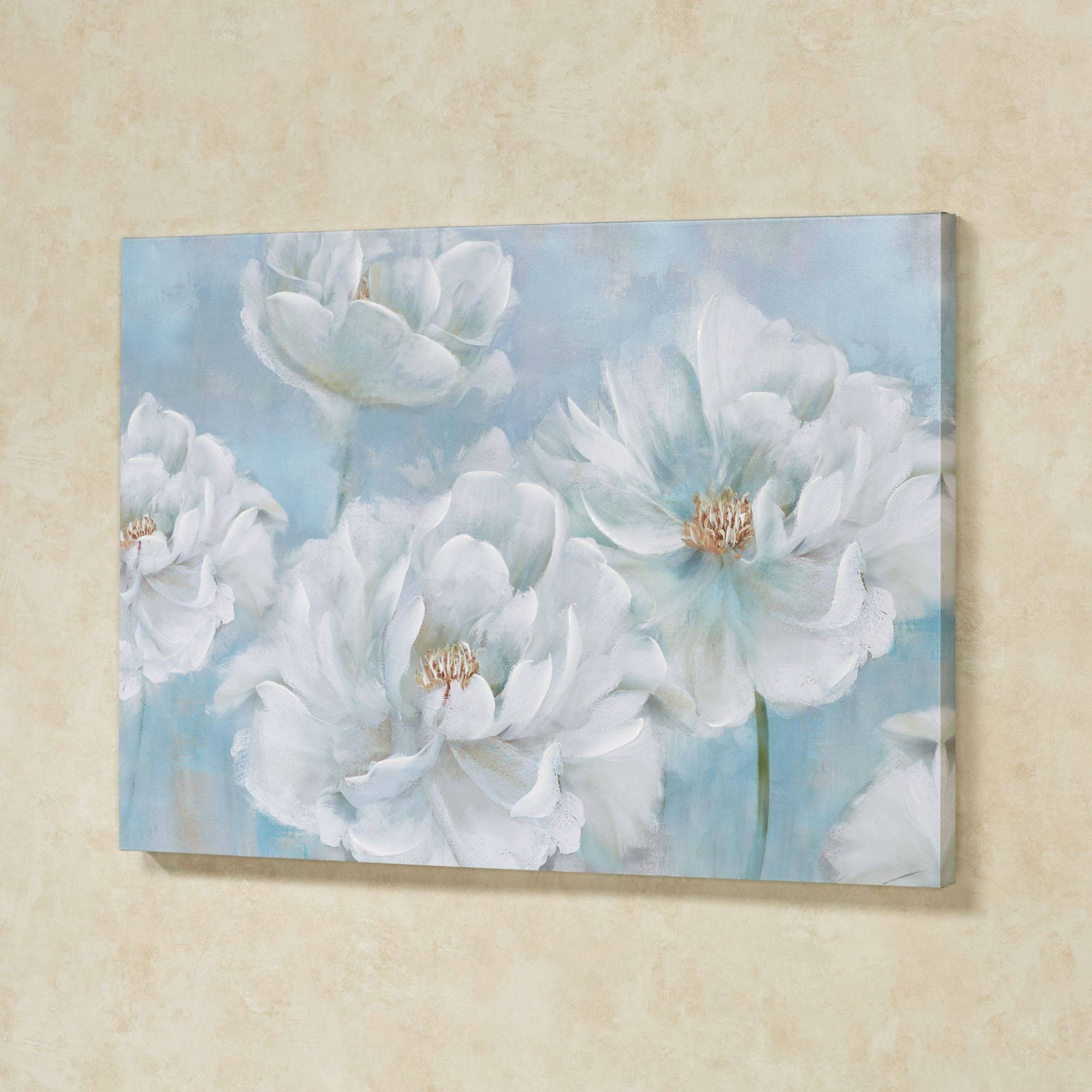 Sweet Serenity Soft Blue Floral Canvas Art With Regard To Recent Teal Flower Canvas Wall Art (View 19 of 20)