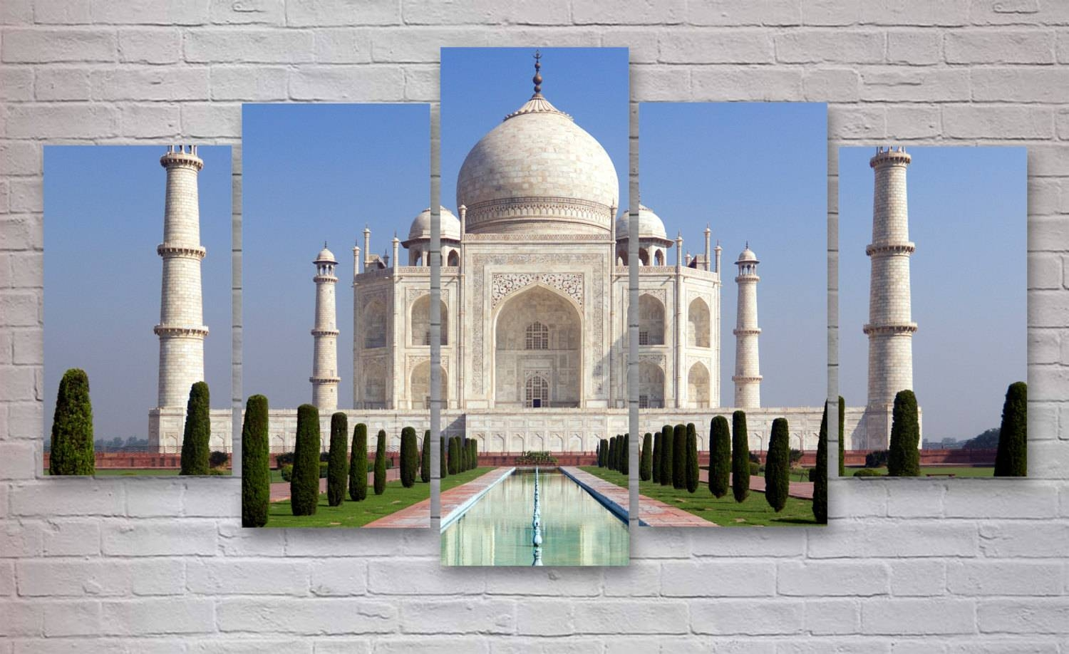 Taj Mahal India 5 Panel / Piece Canvas Wall Art Office (View 22 of 25)