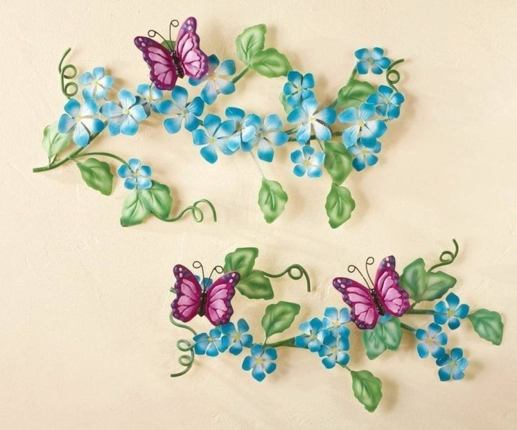 Tall Metal Wall Art Topiary Of Blooming Flowers And Butterflies For Current Topiary Wall Art (View 14 of 30)