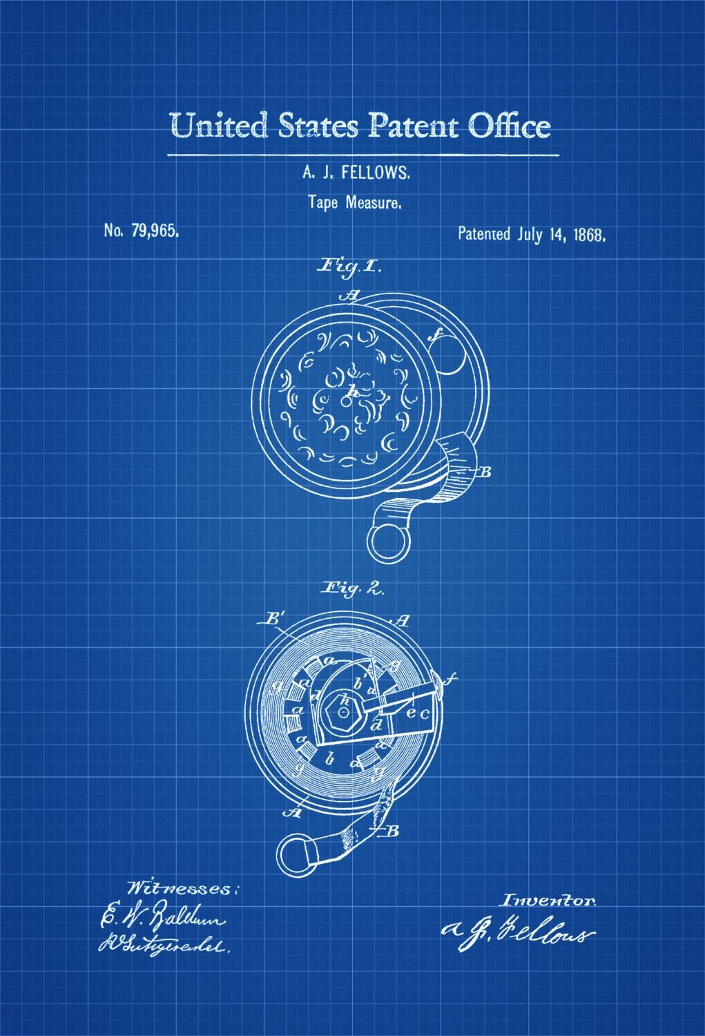Tape Measure Patent 1868 – Patent Print, Vintage Tools, Workshop Within Most Current Vintage Industrial Wall Art (View 15 of 20)