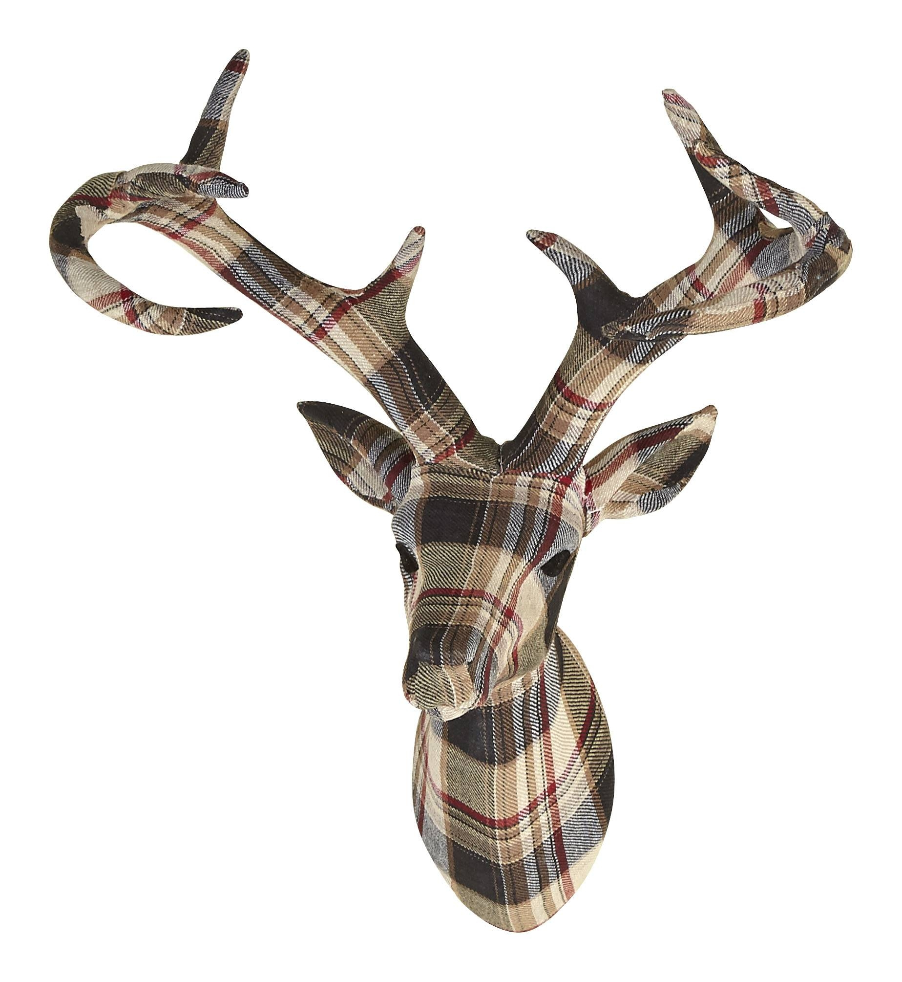 Tartan Stag Head With Fabric Finish – Arthouse In 2017 Stag Head Wall Art (View 7 of 20)