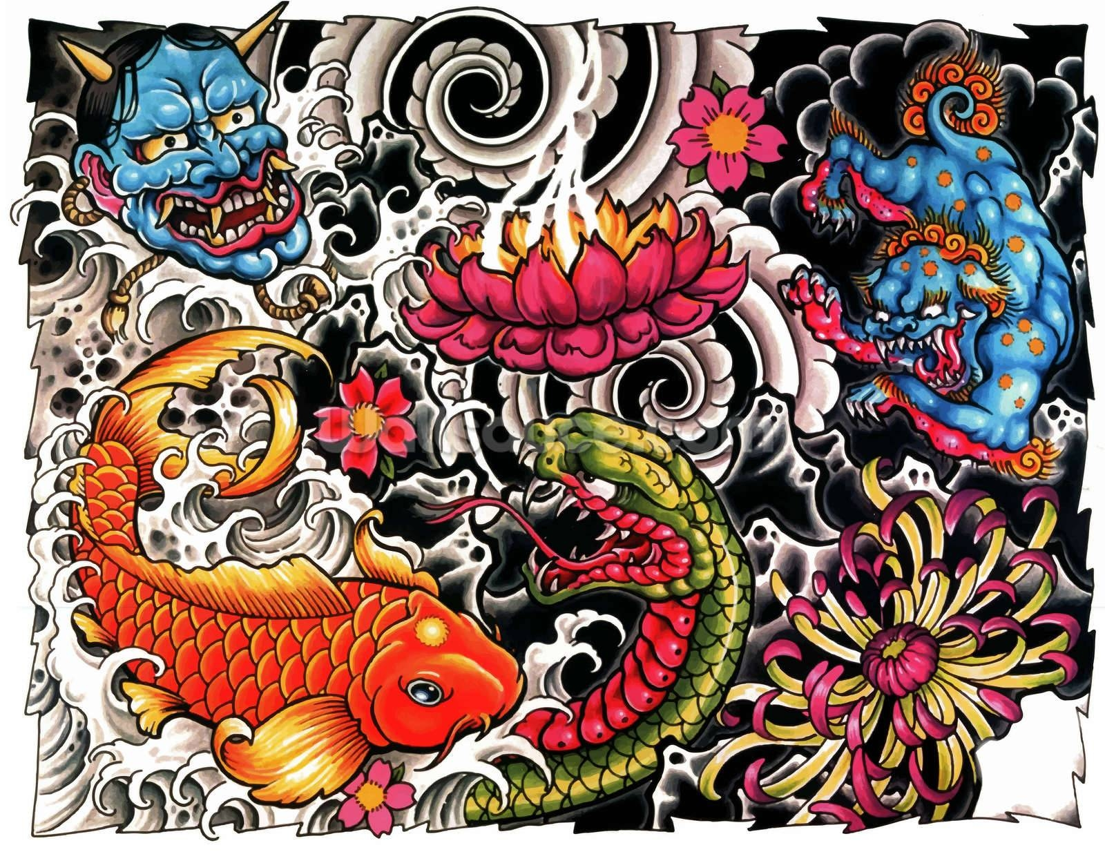 Tattoo Wallpaper Wall Mural | Wallsauce Usa throughout Most Up-to-Date Tattoo Wall Art