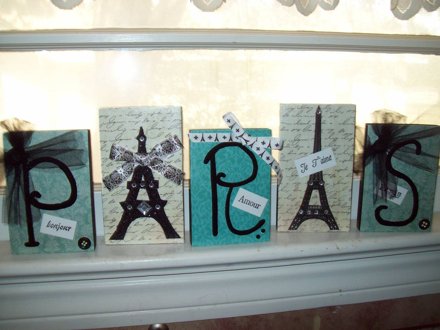 Teal And Black Paris Letter Blockseiffel Towerparis Within Most Up To Date Paris Theme Nursery Wall Art (View 27 of 30)