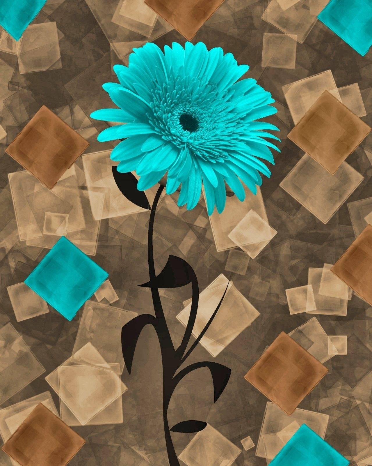 Teal Brown Daisy Flower Modern Bathroom Bedroom Home Decor Wall In Most Popular Turquoise And Brown Wall Art (View 3 of 25)