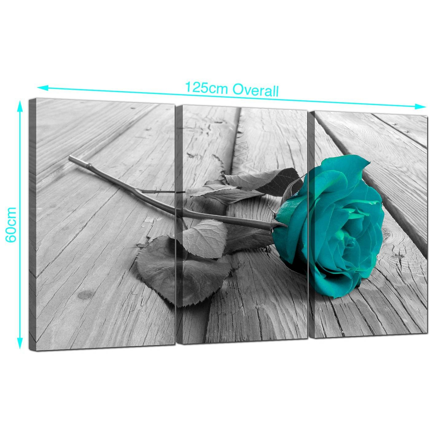 Teal Rose Canvas Prints Set Of 3 For Your Living Room Inside Most Popular Rose Canvas Wall Art (View 16 of 20)